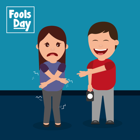 happy man prank a woman fools day vector illustration