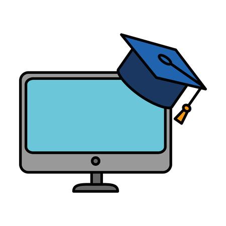 monitor computer with graduation hat vector illustration design Çizim