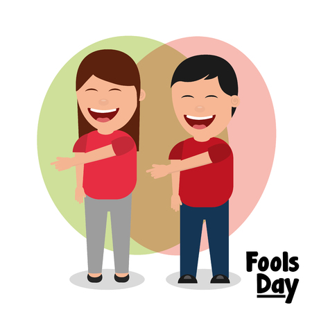 woman and man laughing gesture pointing fools day vector illustration
