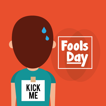 Back of man with sticker kick me fools day vector illustration