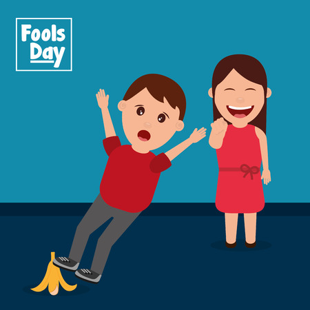 A Woman laughs seeing a man slipping with banana peel  vector illustration