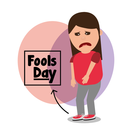 woman sad with tied shoelaces joke fools day vector illustration Illustration