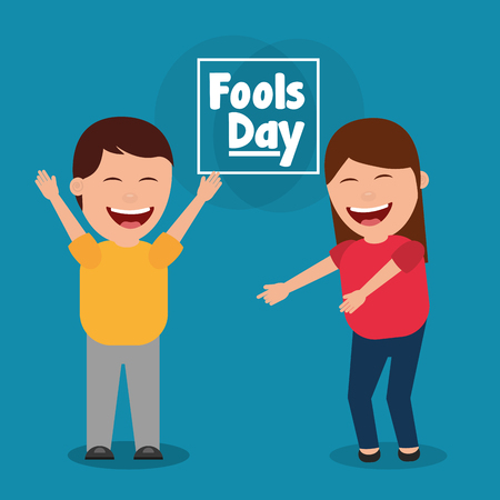 smiling man and woman celebration fools day vector illustration