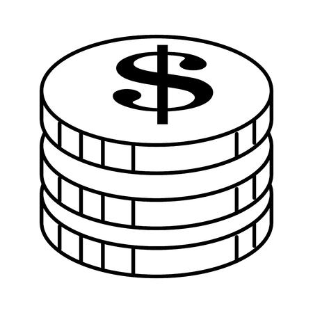 Coins money isolated icon vector illustration design.  イラスト・ベクター素材