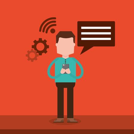 Character man chatting with smartphone device vector illustration Ilustração