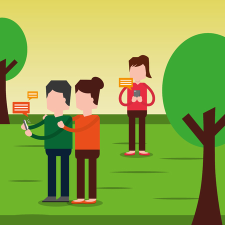 People chatting using smartphone in the park vector illustration Иллюстрация