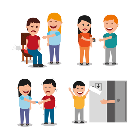 People with different jokes of vector illustration