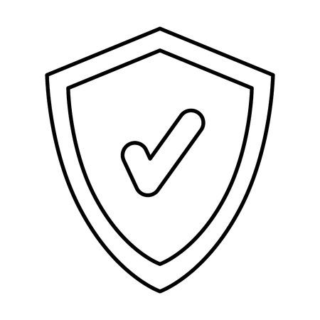 Escudo con diseño de ilustración de vector de símbolo chek Ilustración de vector