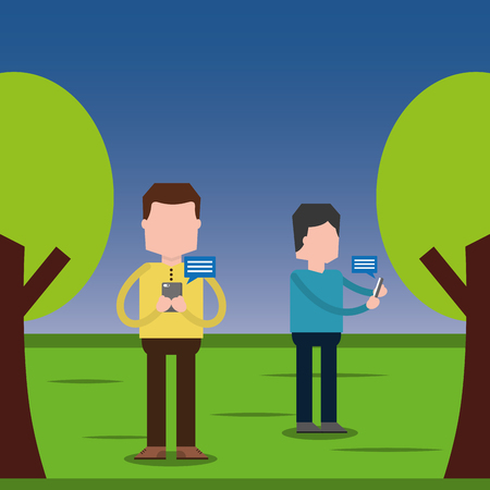 People using smartphone for texting messages each other in the park vector illustration Illustration