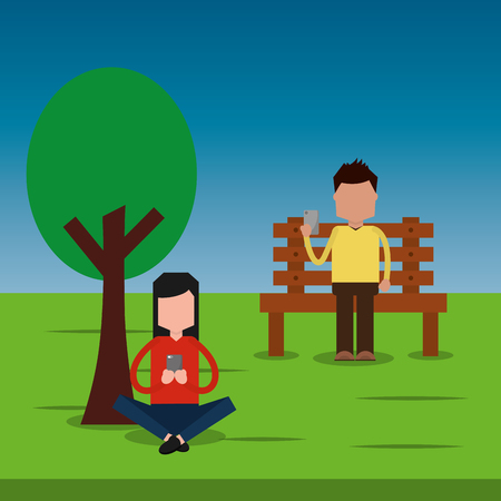 Man sitting in bench and woman park chatting with smartphone vector illustration