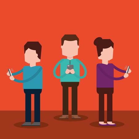 people standing together using smartphone technology vector illustration
