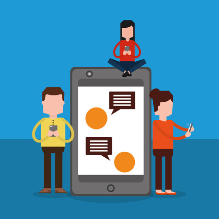 People standing and sitting on big smartphone with speech bubbles vector illustration