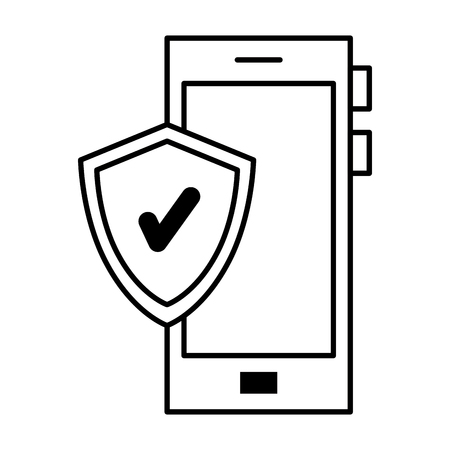 smartphone device with shield vector illustration design