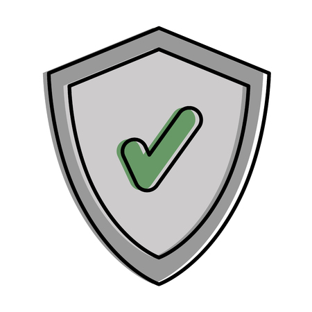 shield with chek symbol vector illustration design