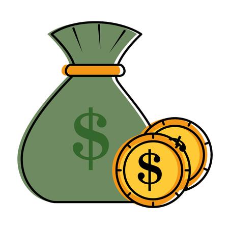 Money bag with coins vector illustration design. Ilustração