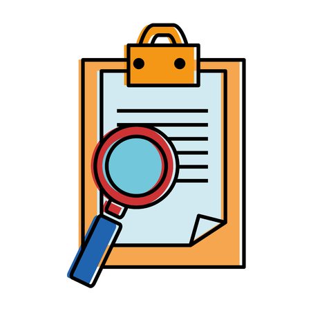 checklist document with magnifying glass vector illustration design Illustration