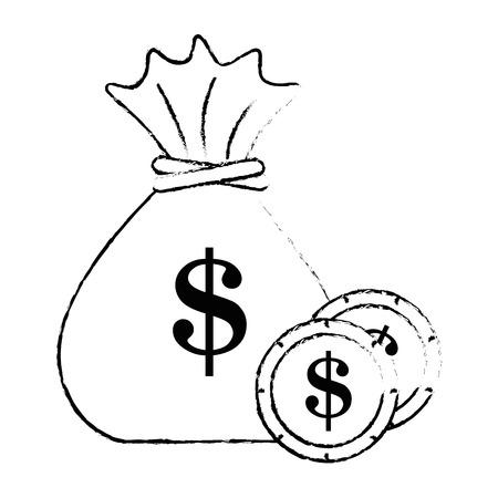 money bag with coins vector illustration design