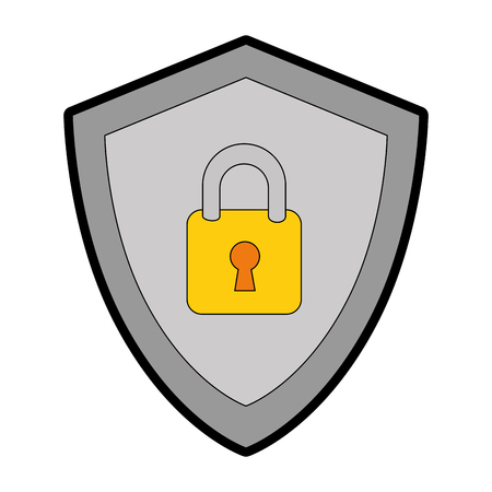 Shield with padlock icon vector illustration design