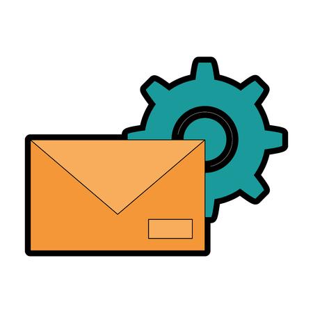 envelope mail with gear vector illustration design Vector Illustration