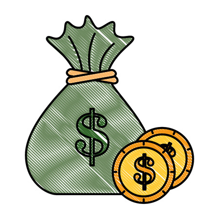 money bag with coins vector illustration design 写真素材 - 95611870