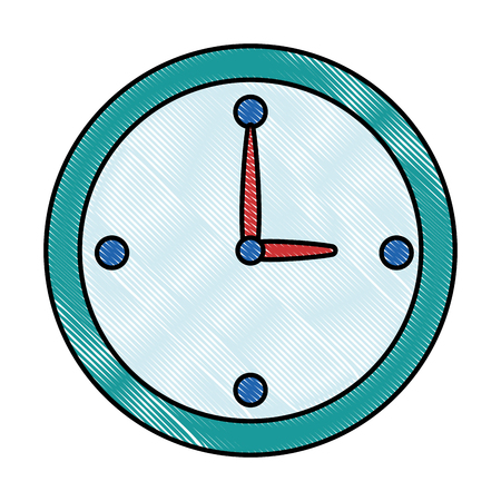 Time clock isolated icon in colored illustration design.