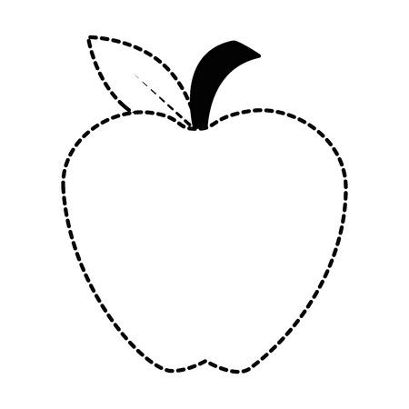 Fresh apple fruit icon in broken lines illustration design.