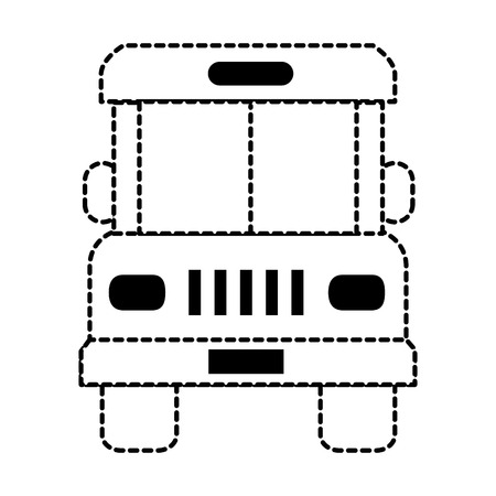 Bus front view isolated icon in broken lines illustration design. Illustration