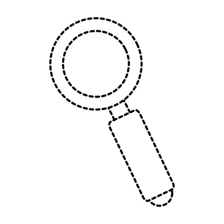 Search magnifying glass icon in broken lines illustration design.