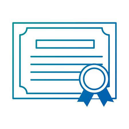 Graduation certificate isolated icon in colored lines illustration design.