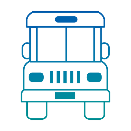 Bus front isolated icon vector in colored lines illustration design.