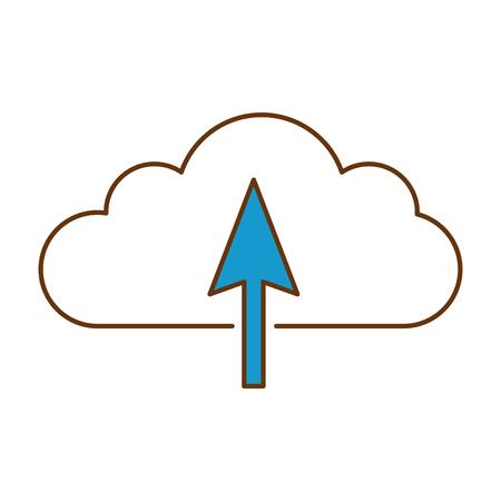 cloud computing with arrow upload vector illustration design
