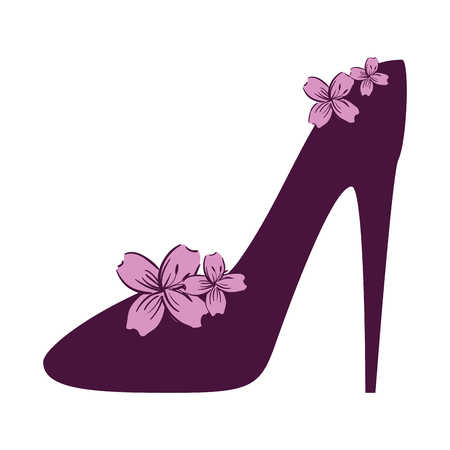high heel shoe with flowers vector illustration design Ilustrace