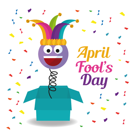 jack in the box with confetti laughing emoticon april fools day vector illustration