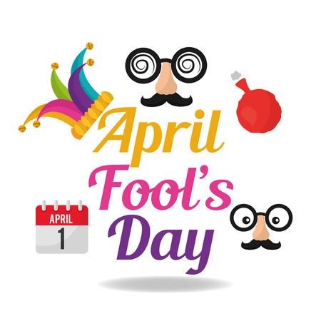 April fools day collection icons 向量圖像