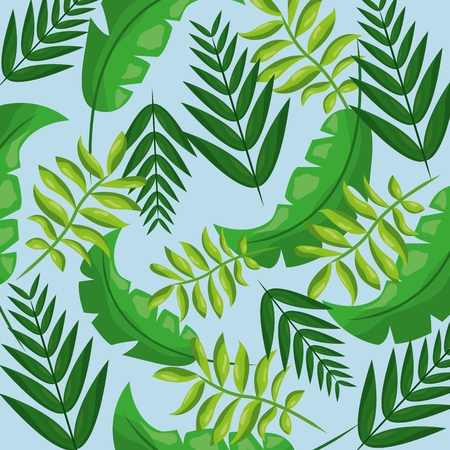 Tropical leaves  seamless pattern vector illustration
