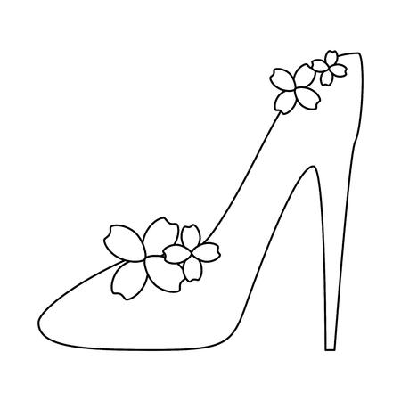 High heel shoe with flowers vector illustration design 일러스트