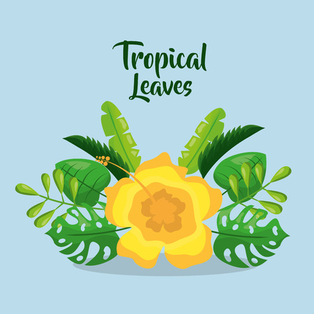 tropical leaves invitation card yelow flower decoration vector illustration