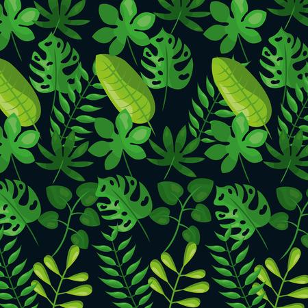 Tropical leaves dark background Illustration