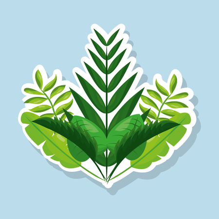 Bunch of natural tropical leaves vector illustration Stock Vector - 95755978
