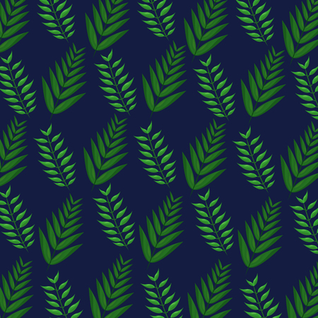 Tropical leaves on blue background