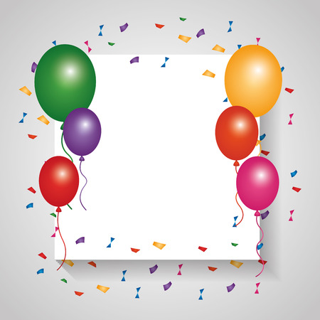 White card empty colored balloons and falling confetti vector illustration