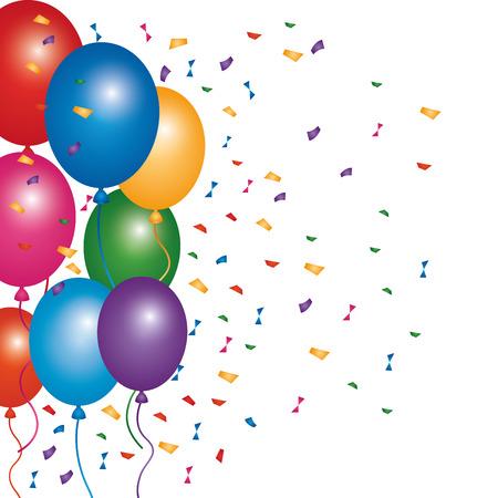 decoration party celerbation confetti and balloons vector illustration Illustration