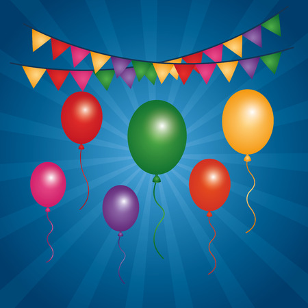 colorful flying balloons pennants bright and blue background vector illustration