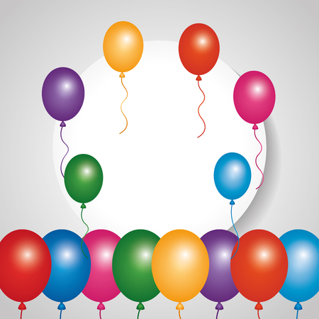 Round banner blank and colored glow balloons vector illustration