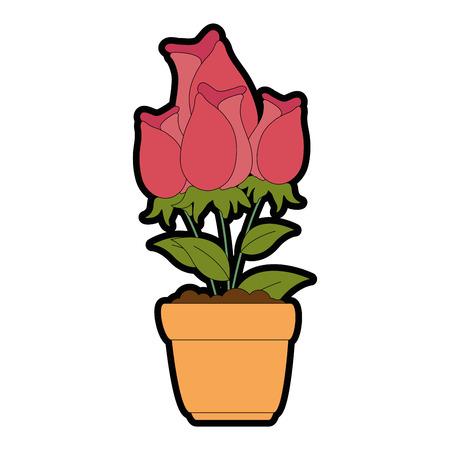 beautiful roses in pot vector illustration design Stock Vector - 95641345