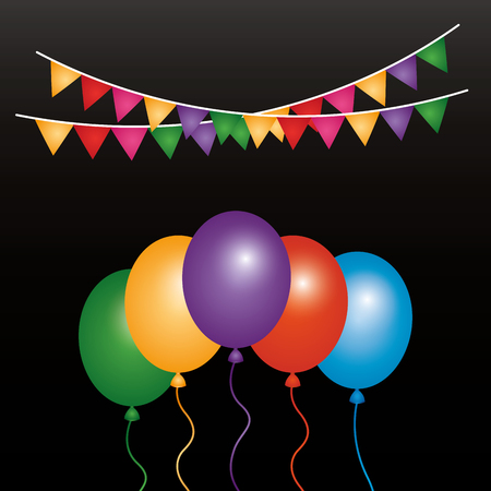 Balloons and garlands decoration vector illustration