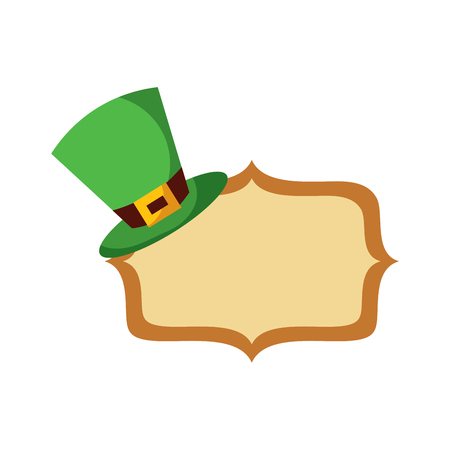 Hat of leprechaun with vintage board blank vector illustration 일러스트