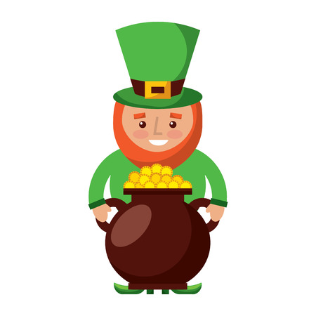 St patrick leprechaun holding pot full coins treasure vector illustration Ilustrace