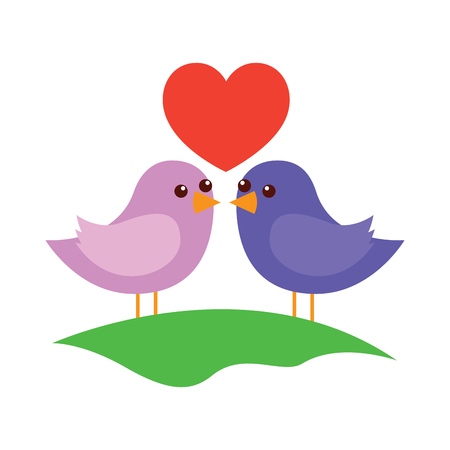 Cute couple birds together with heart in the field vector illustration