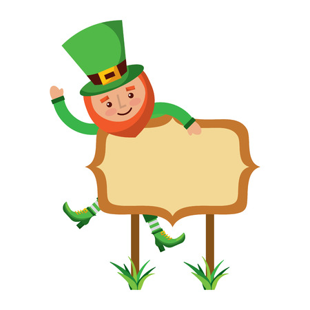 Leprechaun on wooden board happy character vector illustration